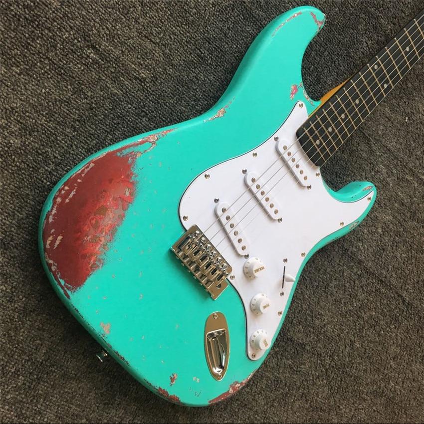 Guitare électrique orme mode Vintage vert et rouge ST 21 ton Position deux couleurs guitare chinoise 6 cordes - 2