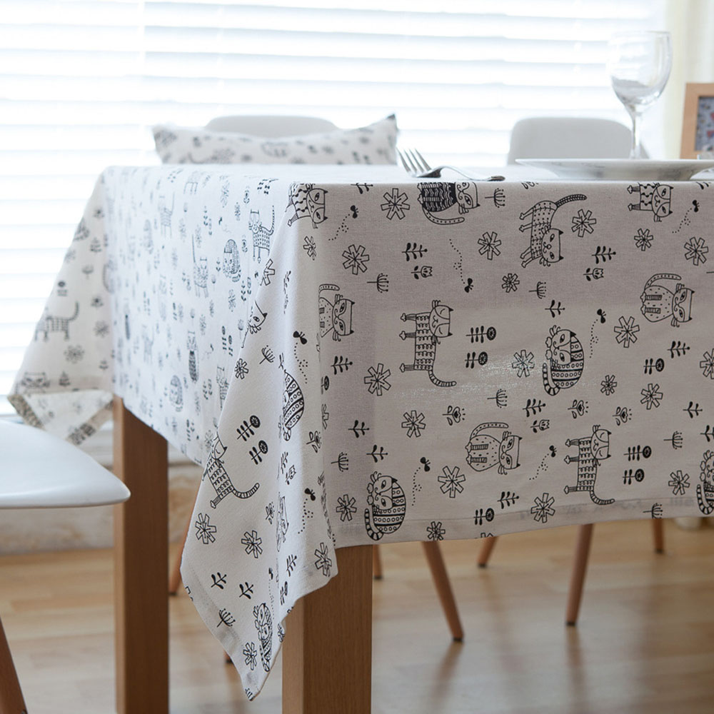 Modern Fashionable White Linen Table Cloth Black Cats