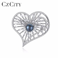 CZCITY Brand Luxury High Quality Heart Shape 925 Sterling Silver With Black Color Natural Pearl Brooch For Women Brooches Gifts