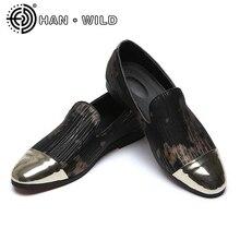 Мужские кожаные модельные туфли с металлическим носком; Лоферы ручной работы; мужские туфли на плоской подошве; качественные мужские деловые туфли без застежки; Мужская официальная обувь; большие размеры