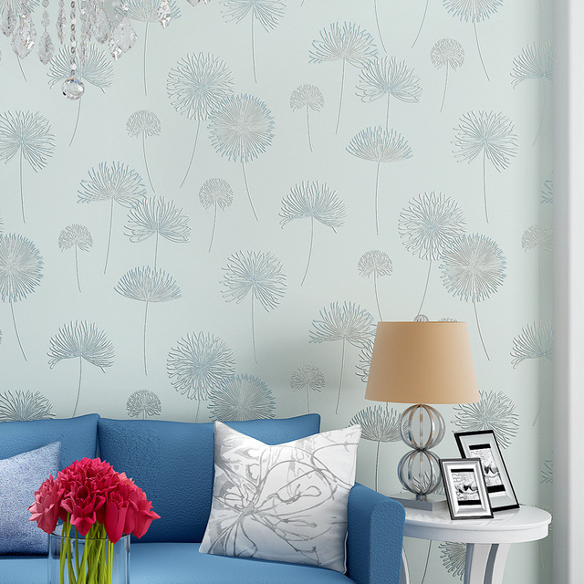 Modern Rustic Floral Wallpapers Dandelion Wallpaper For Walls Purple Wall Paper Bedroom Girls Room