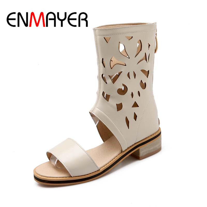 ENMAYER LargeSize 34-47 New Fashion Women's Gladiator Knee High Sandals Cut Outs Flat Summer Boots Solid Color Dress Shoes Woman 2015 new deluxe brand 100% high quality flat summer women knee high gladiator sandals genuine leather cut outs cover heel shoes