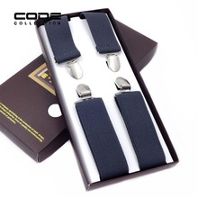 HOT Fshion Business Solid Elastic Shirt Suspender 4 Clip 3.5cm For Men Classic Simple Brace Male Clothing Accessories