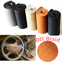 DIY Genuine Leather Braid Car Steering Wheel Covers With Needles New Style High Quality Auto Wheel