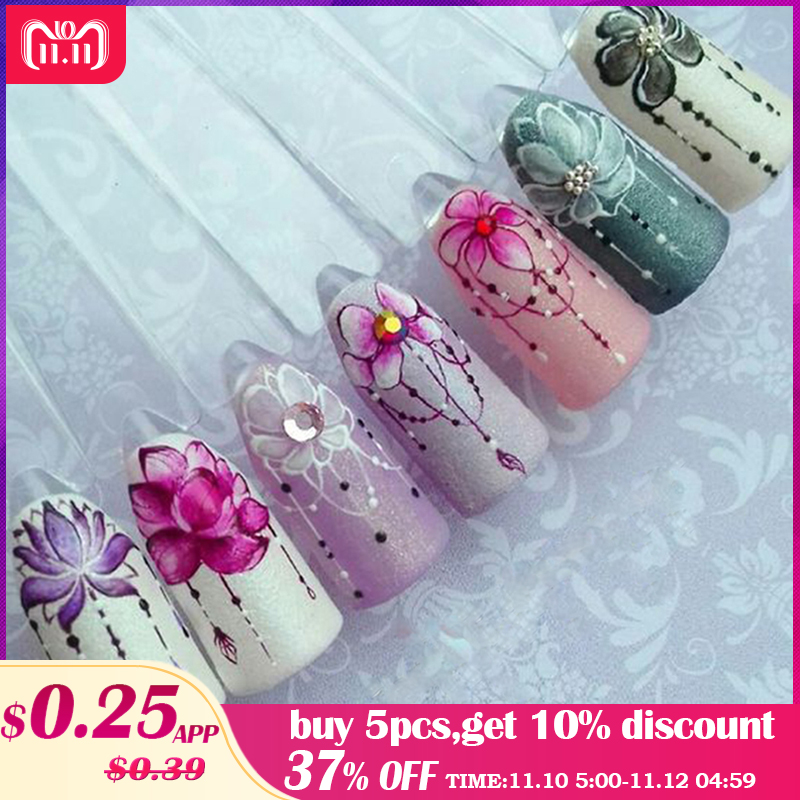 1pcs Slider Nail Sticker Gradient Lotus Decals Purple Flower Vine Designs For Nail Art Watermark Tattoo Decorations TRSTZ633-608 changyuge 2018 new fashion sexy pumps women high heels open toe lace up heels sandals woman sandals thick with women shoes