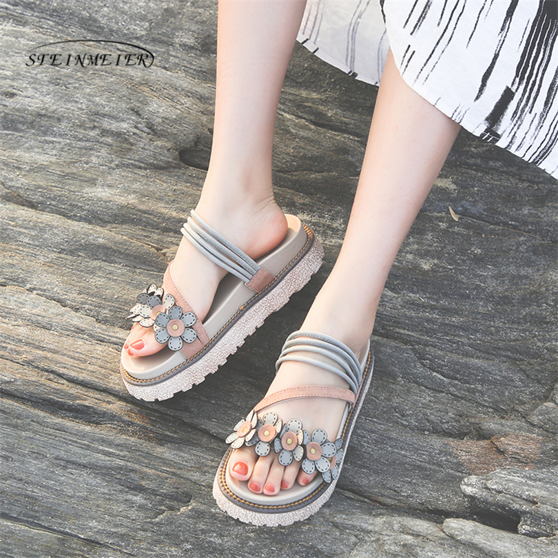 Women flats Sandals woman quality flower beach comfortable casual Cow leather ladies Sandals handmade shoes 2018Women flats Sandals woman quality flower beach comfortable casual Cow leather ladies Sandals handmade shoes 2018