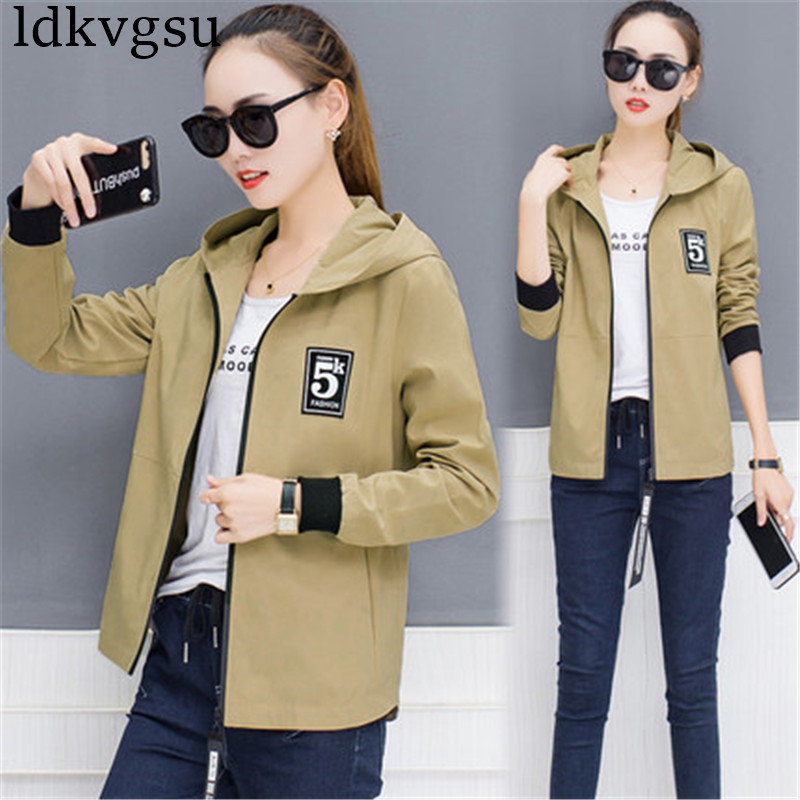 2019 Womens Autumn Casual   Jackets   Ladies Pocket Zipper Coats Plus Size 4XL Long Sleeve   Basic     Jacket   Hooded Coat Outerwear A1201