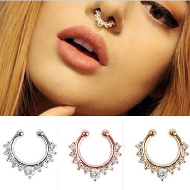 1Pc New Crystal Fake Nose Ring Velishy Women Nose Rings Septum Piercing Hanger Clip On Body Jewelry Nose Hoop Rings Nose Earring