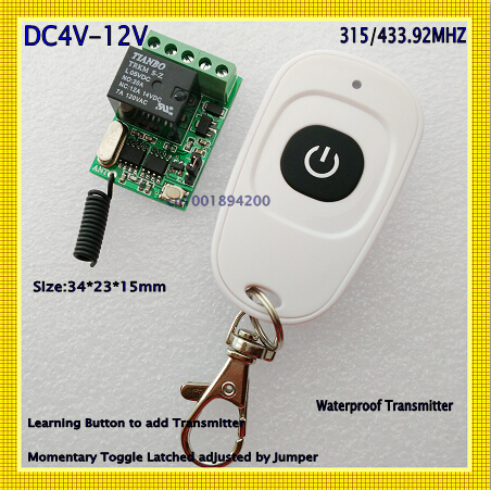 DC5V 6V 9V 12V Computer Start Button Remote Switch Door Openner Push Button Relay Switch Contact Relay RF Wireless Switch 315433