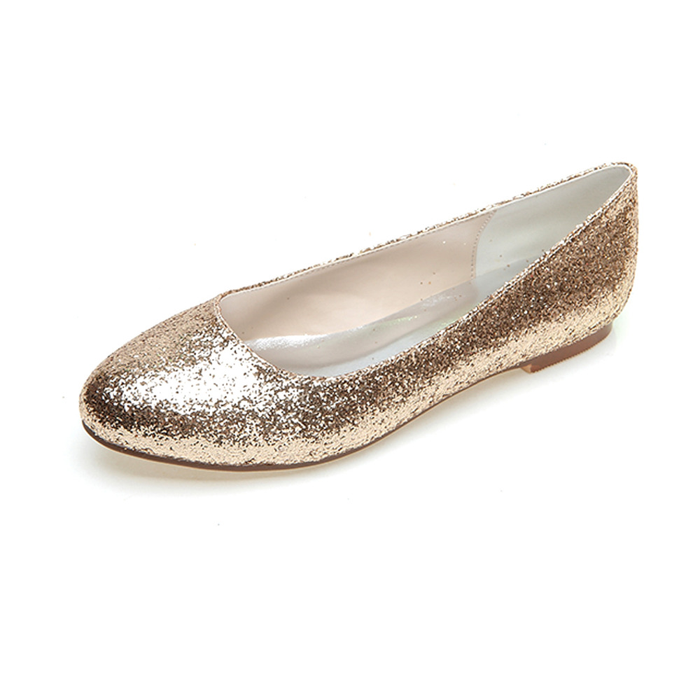 cec8b36693b9 Creativesugar rounded toe woman bling glitter flats slip on metallic silver  gold party night club evening shoes simple flats-in Women s Flats from Shoes  on ...