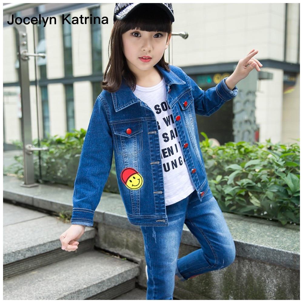 ФОТО Jocelyn Katrina Cowboy Sets For Girls Long-Sleeved Spring Fashion Girl Set Children's Jeans Denim Jacket Two Pieces Girls Suit
