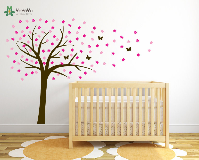 Wall Decal Vinyl Sticker Nursery Large Cherry Tree With Flowers Butterfly Custom Any Color Wall Art Mural Kid Room Decor WW 348 in Wall Stickers from Home Garden