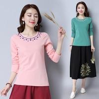 3xl plus big size blusas feminina spring autumn winter 2017 korean women top new embroidered cute sweet t shirts female A4463