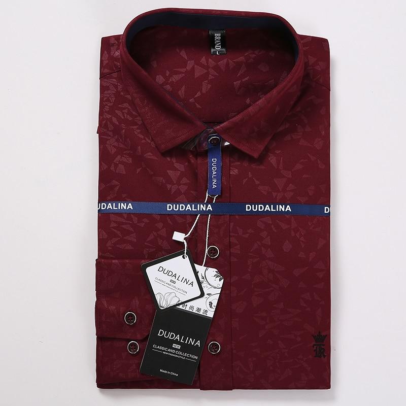 Dudalina Men Shirt Camisa Social Masculina Jacquard Embroidery Logo Long Sleeve Business Casual Shirts Men Famous Brand
