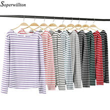 T-Shirt manches longues à rayures pour Femme, en coton, blanc, noir, rouge, collection automne-hiver 2021, T84