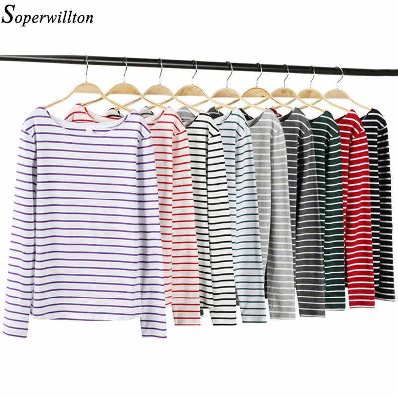 T Shirt Femme Maglietta del Cotone Delle Donne 2020 Manica Lunga A Righe T-Shirt Femminile Magliette E Camicette Tee Autunno Inverno Feminina Bianco Nero Rosso t84