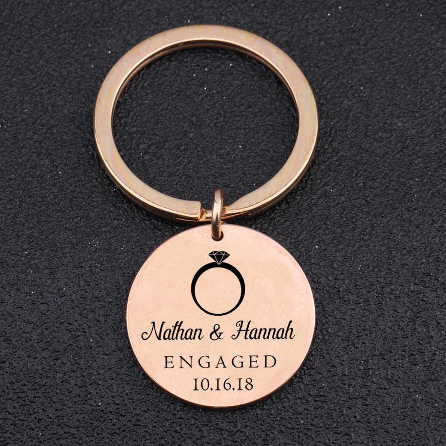 Pasangan Pertunangan Souvenir Gantungan Kunci Hadiah Perhiasan Pria Wanita Tanggal & Nama Disesuaikan Cinta Kenang-kenangan Pesona Liontin Kunci Mobil