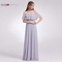Ever Pretty Women Wedding Long Bridesmaid Dresses Chiffon Sexy A Line Sleeveless Ruffles Formal Party Bridesmaid