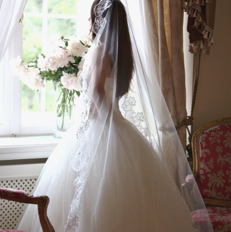 Lacontrie Women Veils White And Red Applique Tulle   Meters Veu De Noiva Long Party Veils Hair Accessories Lace Party Veil In Hair Accessories From
