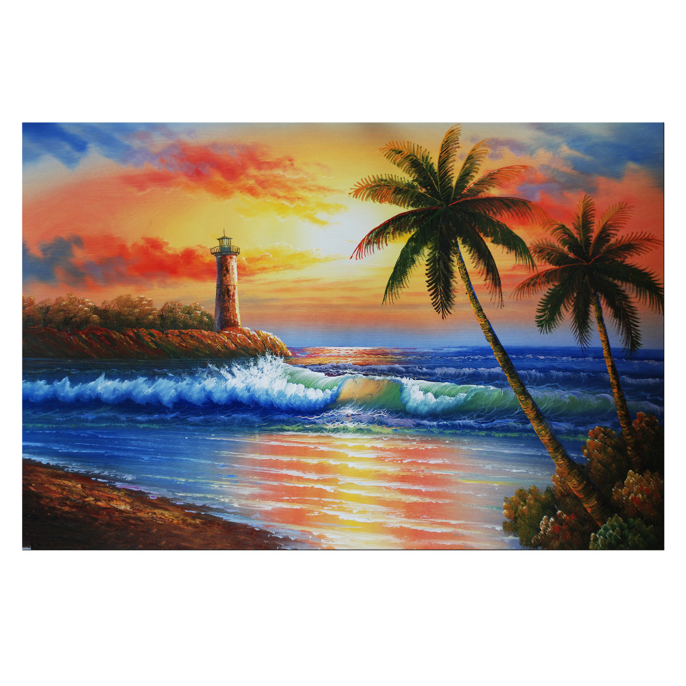 Landscape Oil Painting Sunset Under The Sea Canvas Prints HD