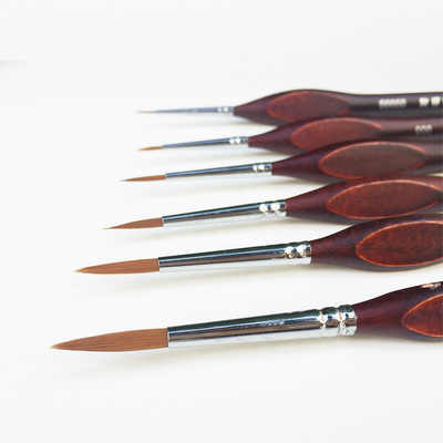 6pieces /lot 00000#~6# Pointed Painting Brush Outline Pen Combo for Gundam Model Building Military Model DIY