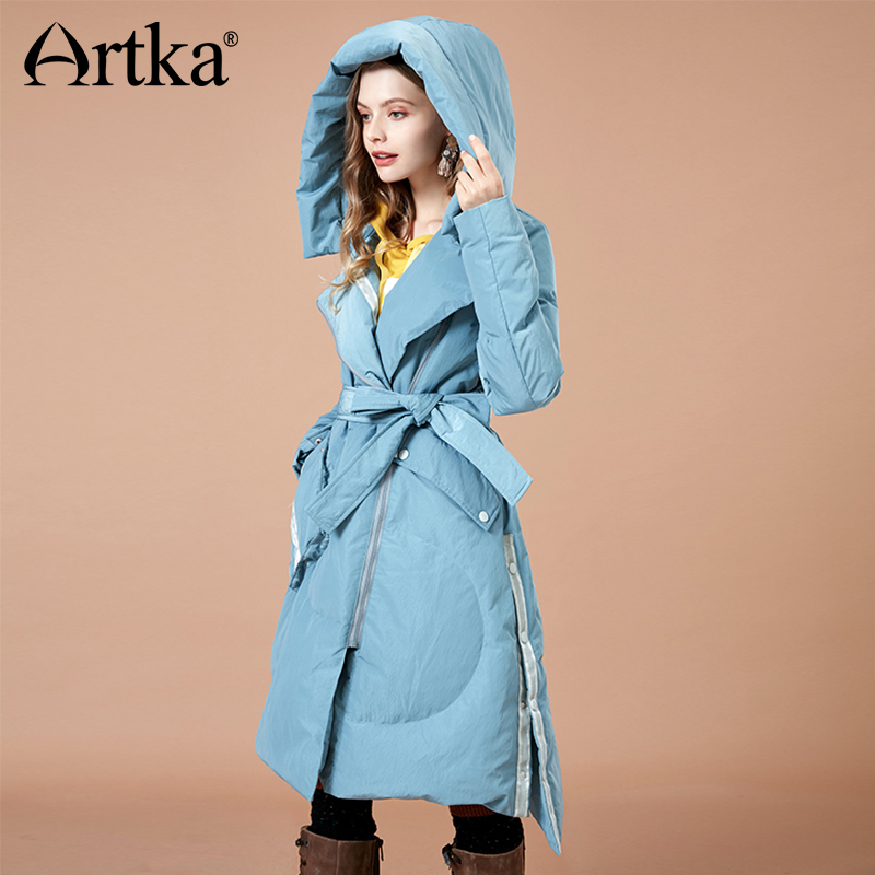 ARTKA 2018 Autumn And Winter New Solid Thick Cloak 90% White Duck Down Coat Sashes Letter Print Pocket Hooded Outwear YK10383D