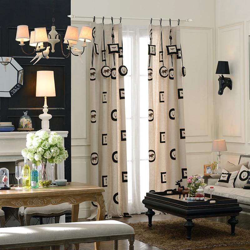 Broderie cheval clés rideaux coton et lin rideau qualité plaine fenêtre rideaux pour salon sur mesure porte rideau