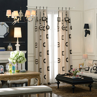 Embroidery horse keys curtains cotton and linen curtain quality plain window curtains for living room custom made door curtain