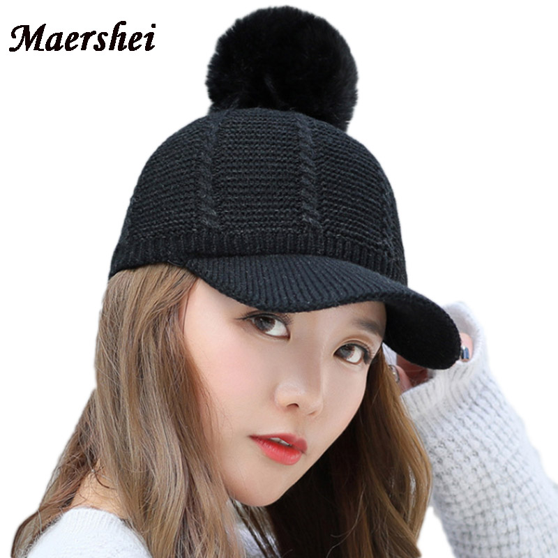 MAERSHEI 2018 Winter Hat Women s Wool Baseball Cap Fur Hats For Girls  Kintted Cap Fashion Casual 352217e8d395