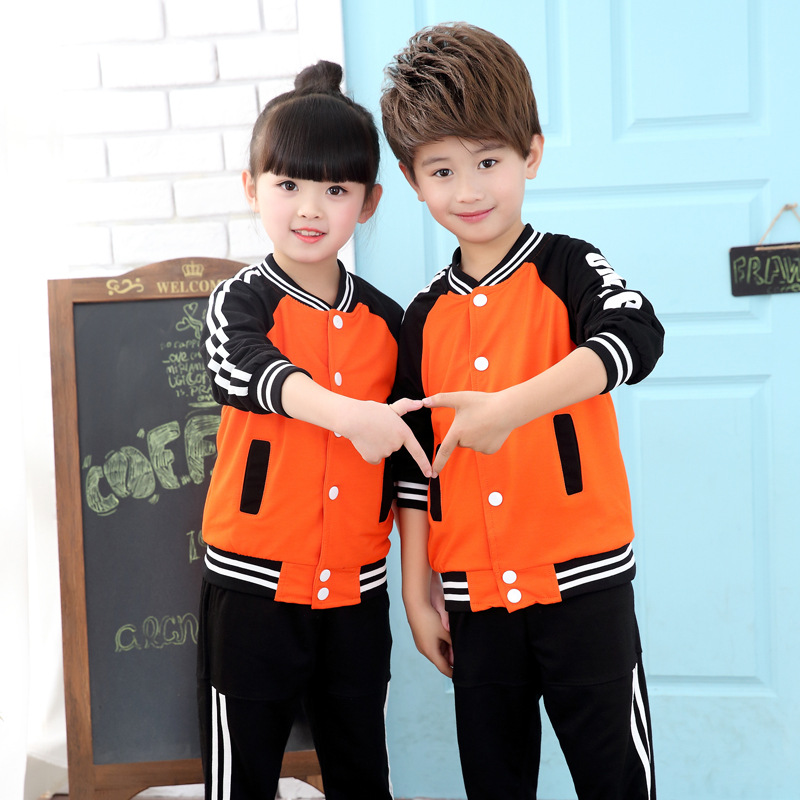New Autumn Boys and Girls School Uniforms Size 3-14 Years Long Sleeve Girls Sport Clothes Set Boys Pant+Coat 2 Pieces/set 5W550