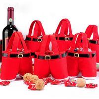 12 יח'\חבילה חג מולד קישוט סנטה קלאוס מתנת ממתקי חבילת בקבוק יין בסגנון מכנסיים ילדים מחזיק צד טובה HX424