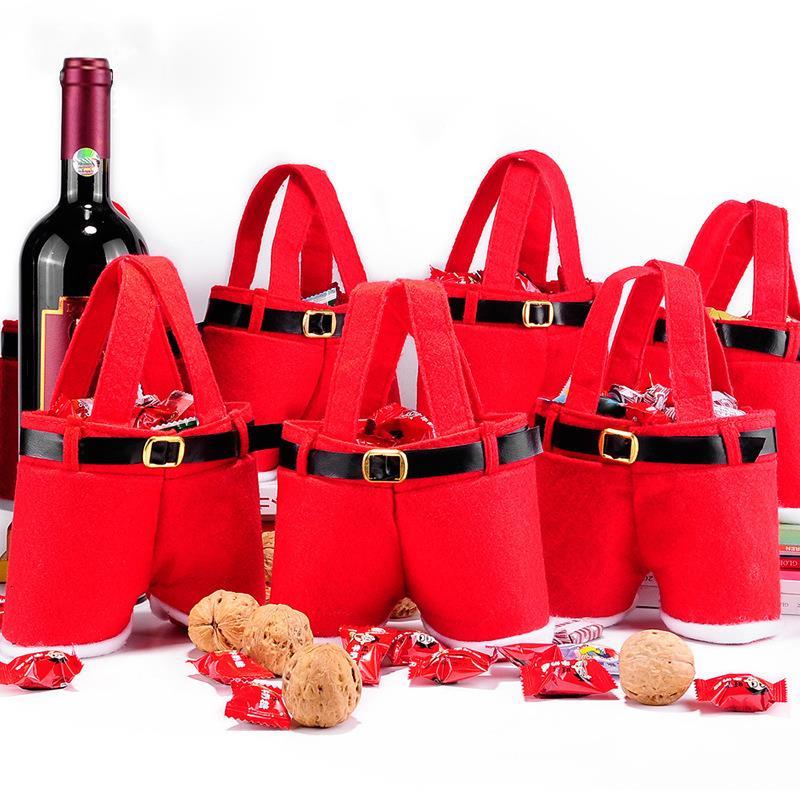 12 teile/los Weihnachtsdekoration Weihnachtsmann Hosen Stil Weinflasche Paket Candy Geschenk Halter Kinder-gastgeschenke HX424