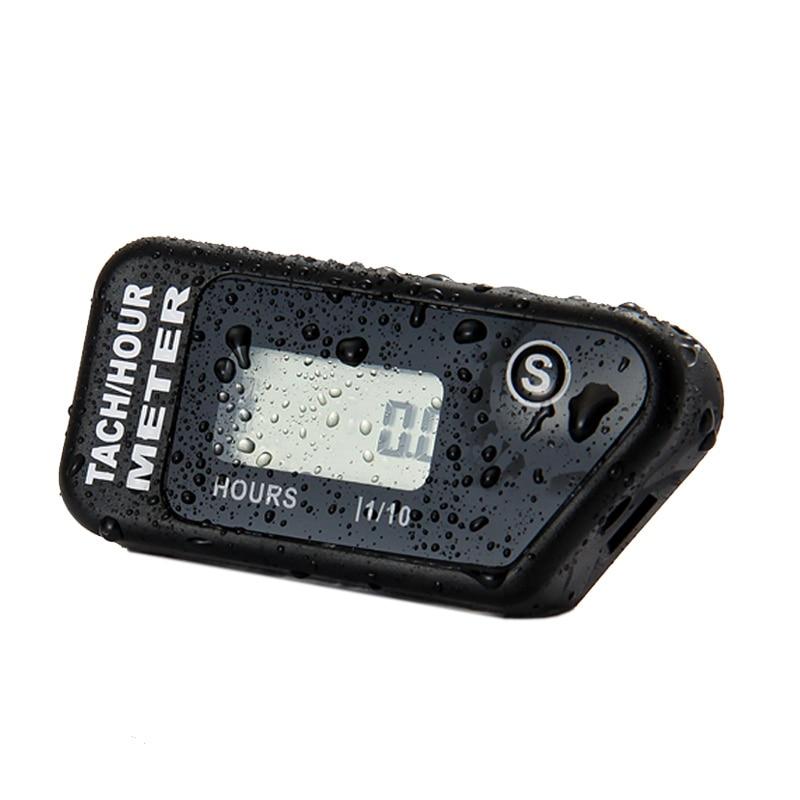 Tacómetro inductivo impermeable medidor de horas para el motor de gasolina MX Motocicleta ATV Moto de nieve moto de moto jet ski cortadora de césped marina utv