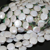14mm White coin natural freshwater pearl round cake wholesale retail loose beads for women jewelry 15inch B1356