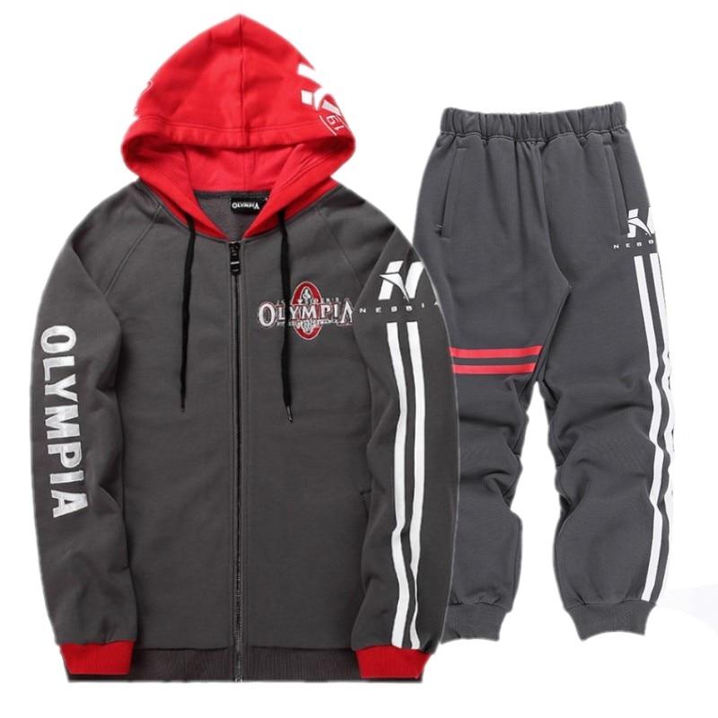 Bodybuilding Men Set Autumn Sweatshirt Mens Tracksuit +Pants 2018 OLYMPIA Brand Sportswear Man 2PCS Stand Collar Hoodie Jacket
