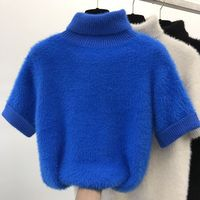 Short Sleeve Sweater Thickened Knitted Shirt Tops for Female New Turtleneck Spring Winter Sweater Pullovers Women Knitwear