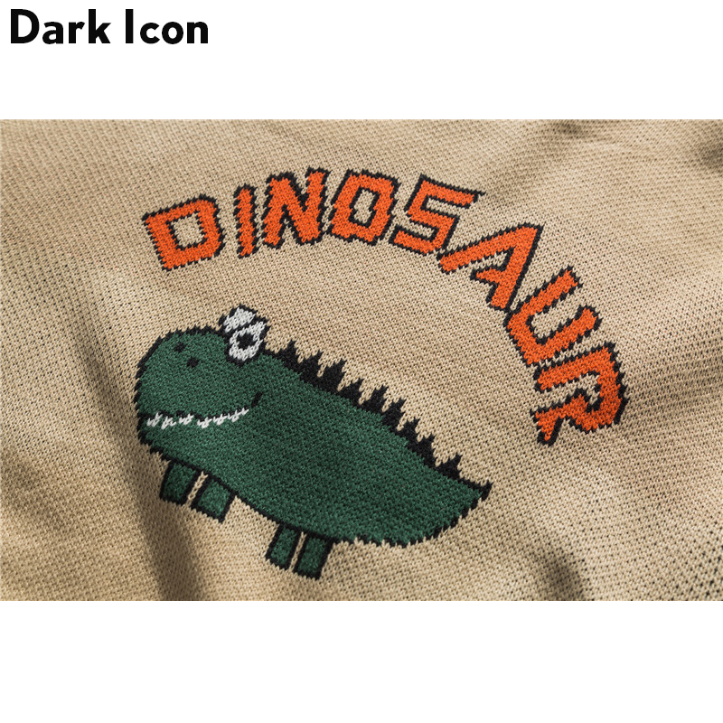 Image 5 - Dinosaur Lovely Sweater Men 2018 Winter Pullover Men's Sweaters Oversized Boy Student Sweater Black Khaki-in Pullovers from Men's Clothing