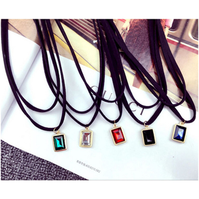 x267 Fashion Jewelry 2 Layers Black Leather Choker Necklaces For Women Red White Blue Green Crystal Pendant Necklaces Wholesale