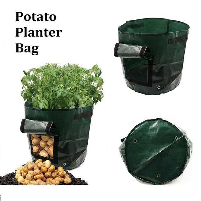 Garden Potato Grow Bag Green Plastic Vegetables Planter Access Flap Harvesting Flower Plants Nursery Pots