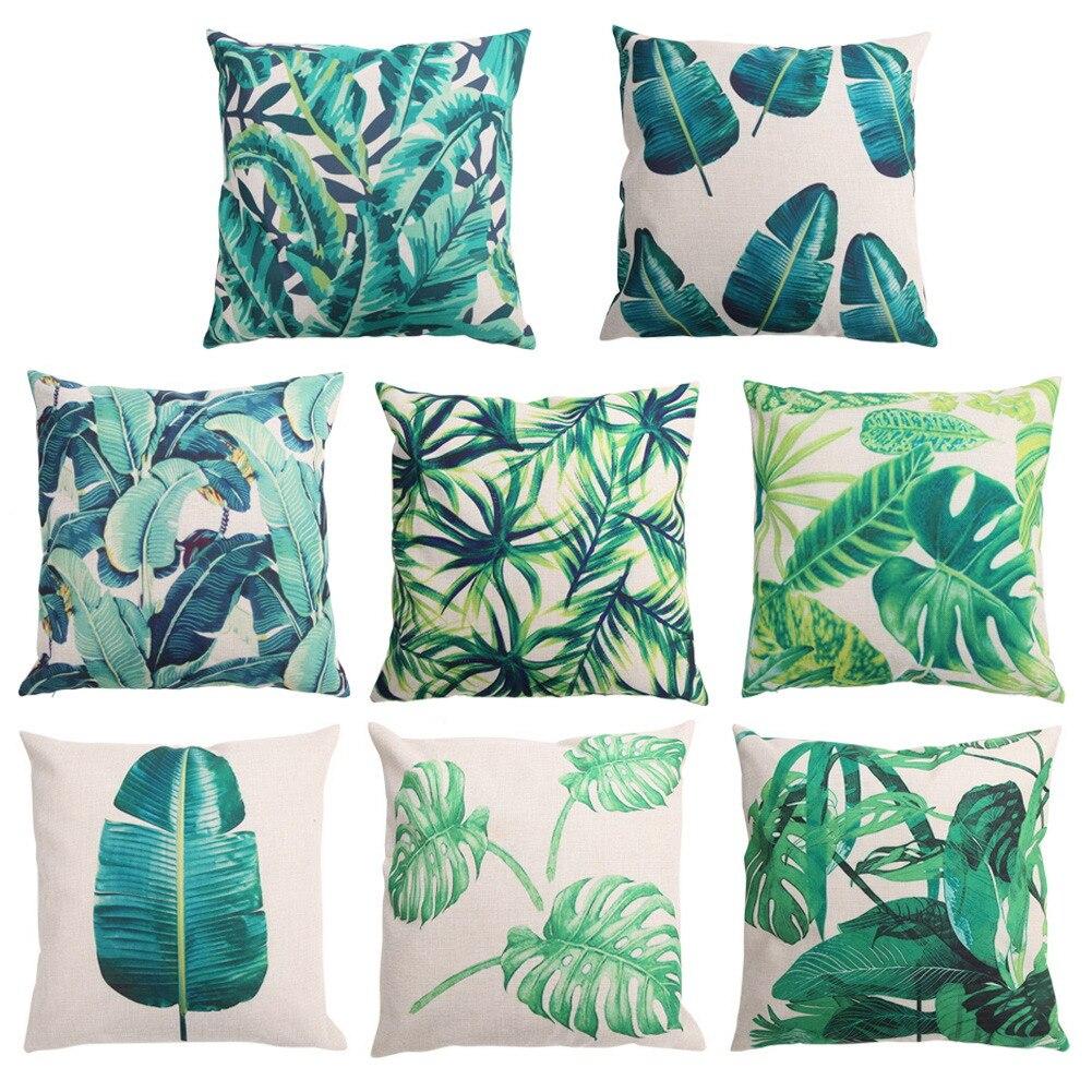 45cmx45cm Cushion Cover Linen Cotton Bamboo Print Pillowcase Cover for Cushion Sofa Bed Decorative Pillows