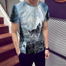New Moon Wolf 3D printing T shirt Men 2019 Summer Hot Short Sleeve Streetwear Causal Mens t-shirt  Oversize 5XL Slim Fit Male