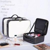 LHLYSGS Cosmetic Bag High quality waterproof cross pattern PU Cosmetic Case Women Travel Toiletry kits Organizer Makeup Bag