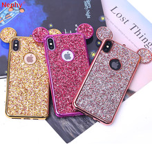 Cute Cartoon animacja 3D uszy etui na telefony dla iPhone 6 S 6 S 7 8 Plus X XR XS Max 5 S SE 7 Plus 8 Plus 6 Plus silikonowa tylna pokrywa(China)