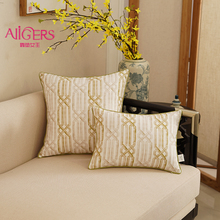 Avigers Luxury Blue Gold Chain Cushion Cover Cotton Linen Printing Pillowcase Modern Design Home Decorative Sofa Throw Pillow