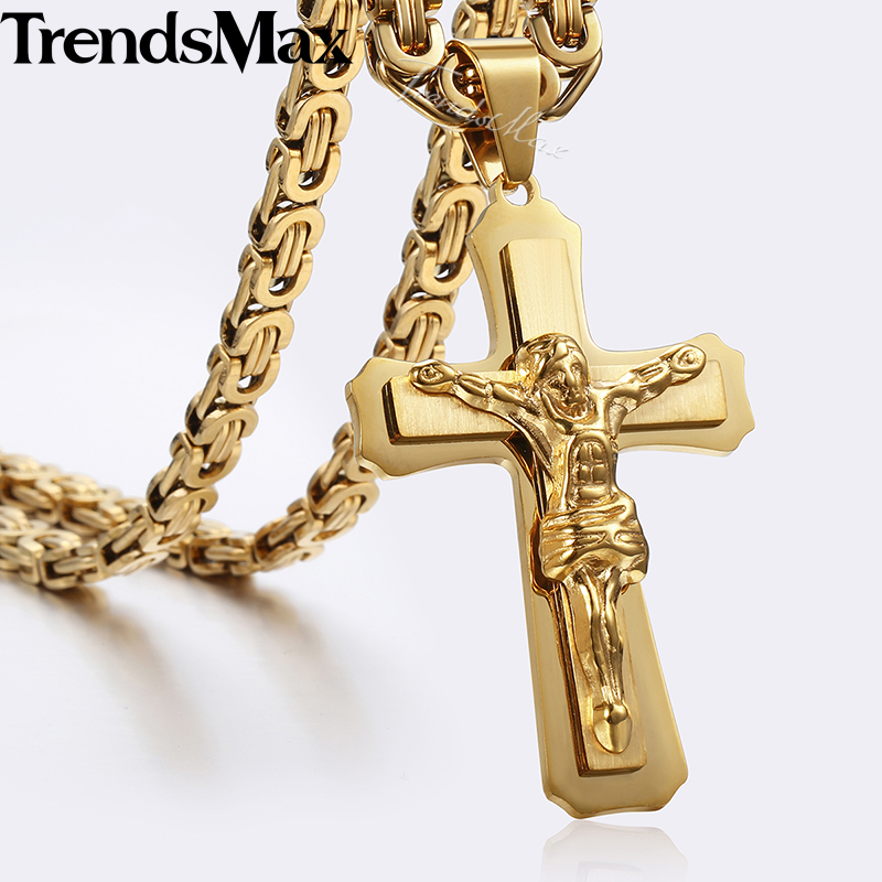 Jesus Piece Cross Pendant Necklace for Men Gold Silver Stainless Steel Byzantine Necklace 45-90cm Men Fashion Jewelry Gift KP483