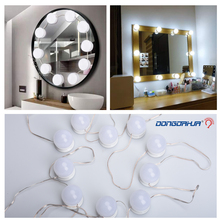 10 LED Light Bulbs Kit Vanity Makeup Mirror 3Colors Brightness Dimmable night lamp Hollywood Style Make up Cosmetic Mirror