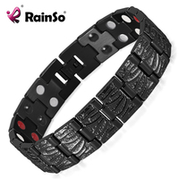 Rainso Jewelry Germanium Health Magnetic Therapy Jewelry Male 4 In 1 Bio Health Stainless Steel Bracelet