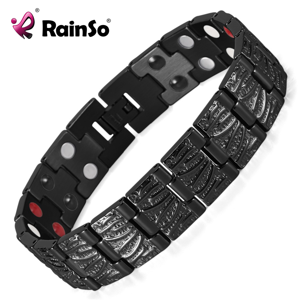 Rainso Jewelry Germanium Health Magnetic Therapy Jewelry Hombre 4 en 1 Bio Health Pulsera de acero inoxidable OSB-065BFIR
