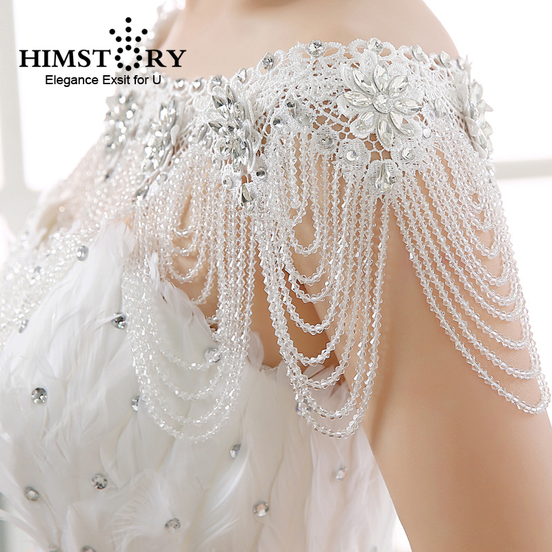 HIMSTORY Luxury Crystal Bridal Choker Necklace Wowen Shoulder Chain Wedding Accessories Vintage Big Shoulder Lace Strap Jewelry цена