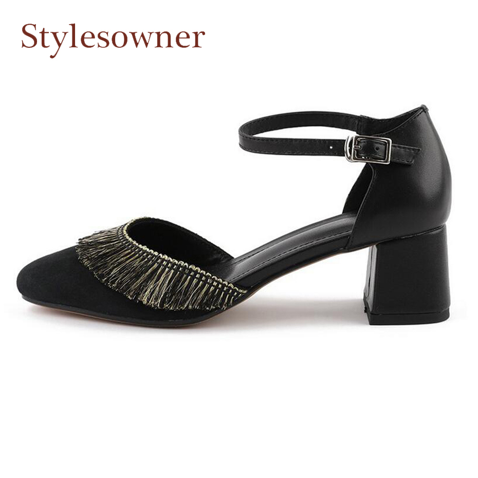 Stylesowner fashion shallow fringe med hollow women pumps ankle strap square toe chunky heel ladies dress party shoes high heels stylesowner rhinestone ankle strap high heel women sandals crystal beading tassel open toe chunky heel ladies dress party shoes
